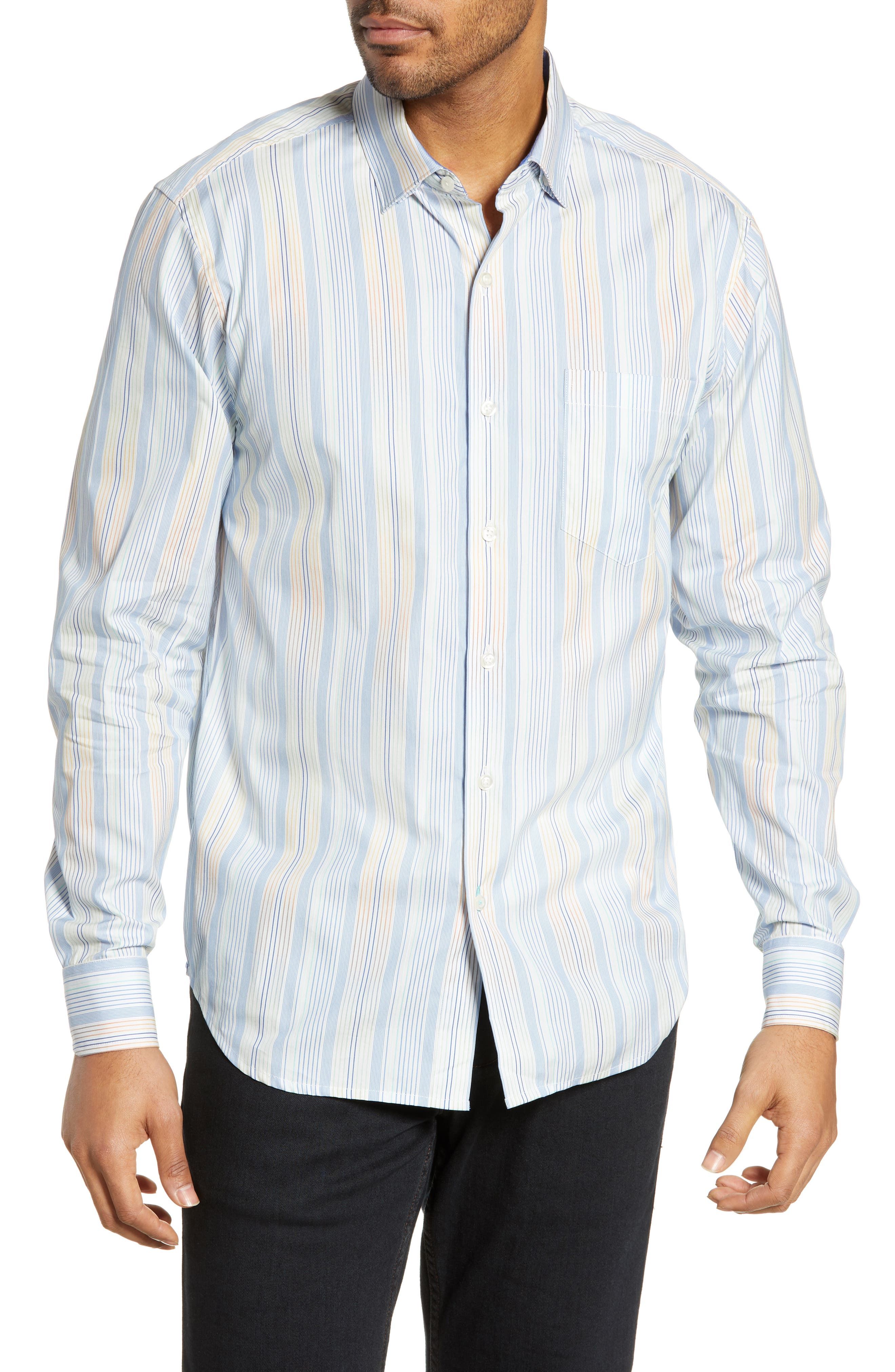 Lomi Lomi Classic Fit Stripe Sport Shirt, Main, color, LYCHEE