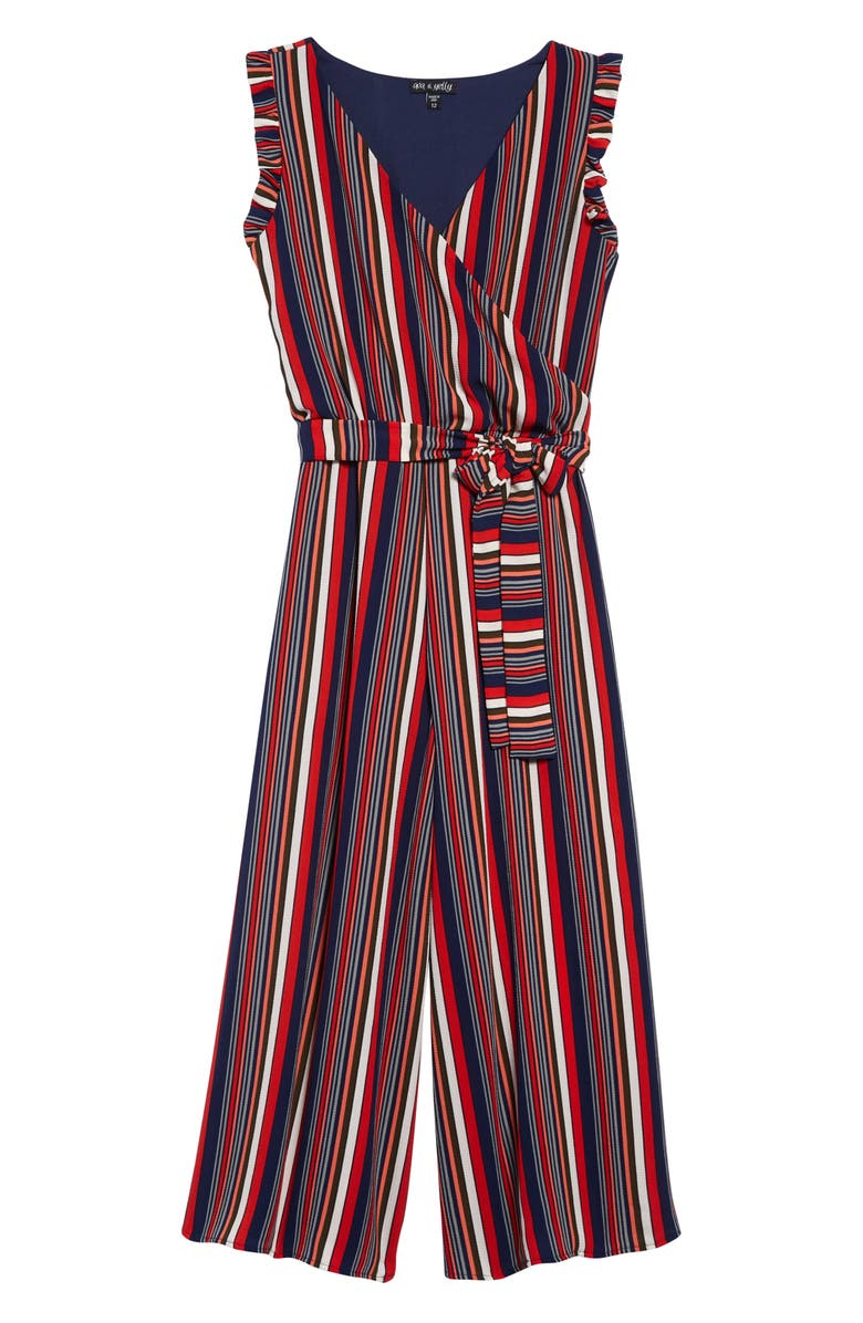 Ava Yelly Stripe Wrap Front Jumpsuit Big Girls