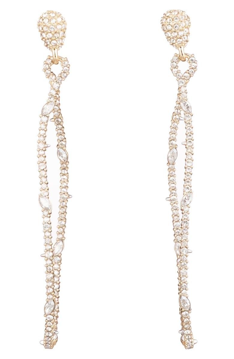 ALEXIS BITTAR Twisted Linear Pavé Crystal Earrings, Main, color, GOLD