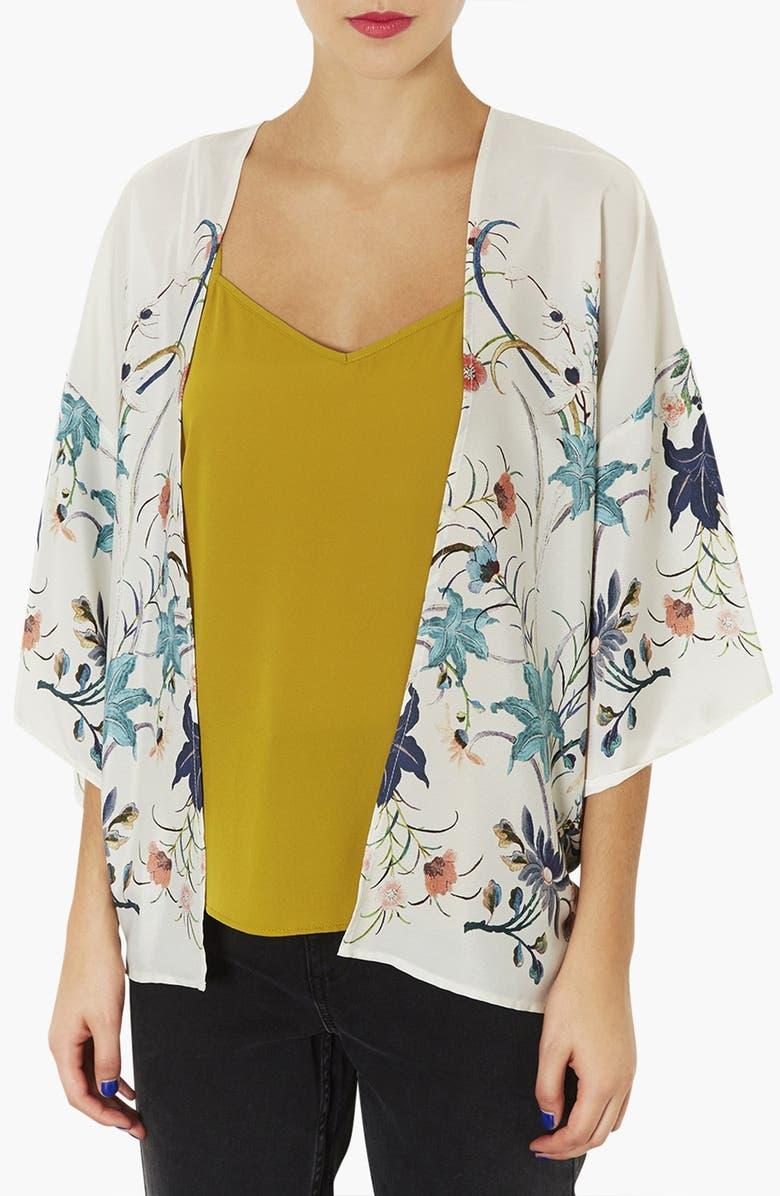 TOPSHOP Floral Print Kimono Jacket, Main, color, 101