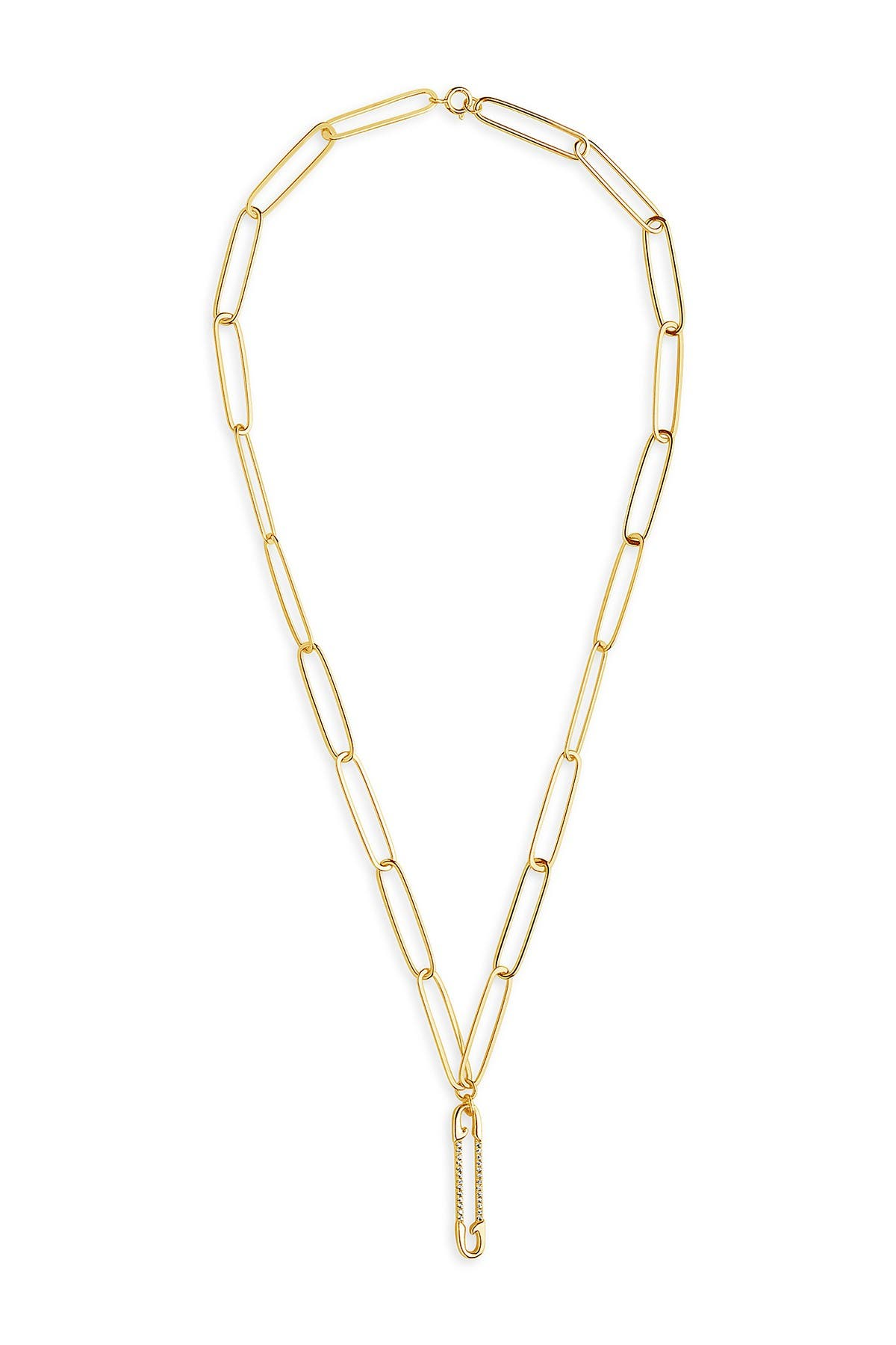 Sterling Forever 14K Yellow Gold Plated Pave CZ Safety Pin Link Necklace