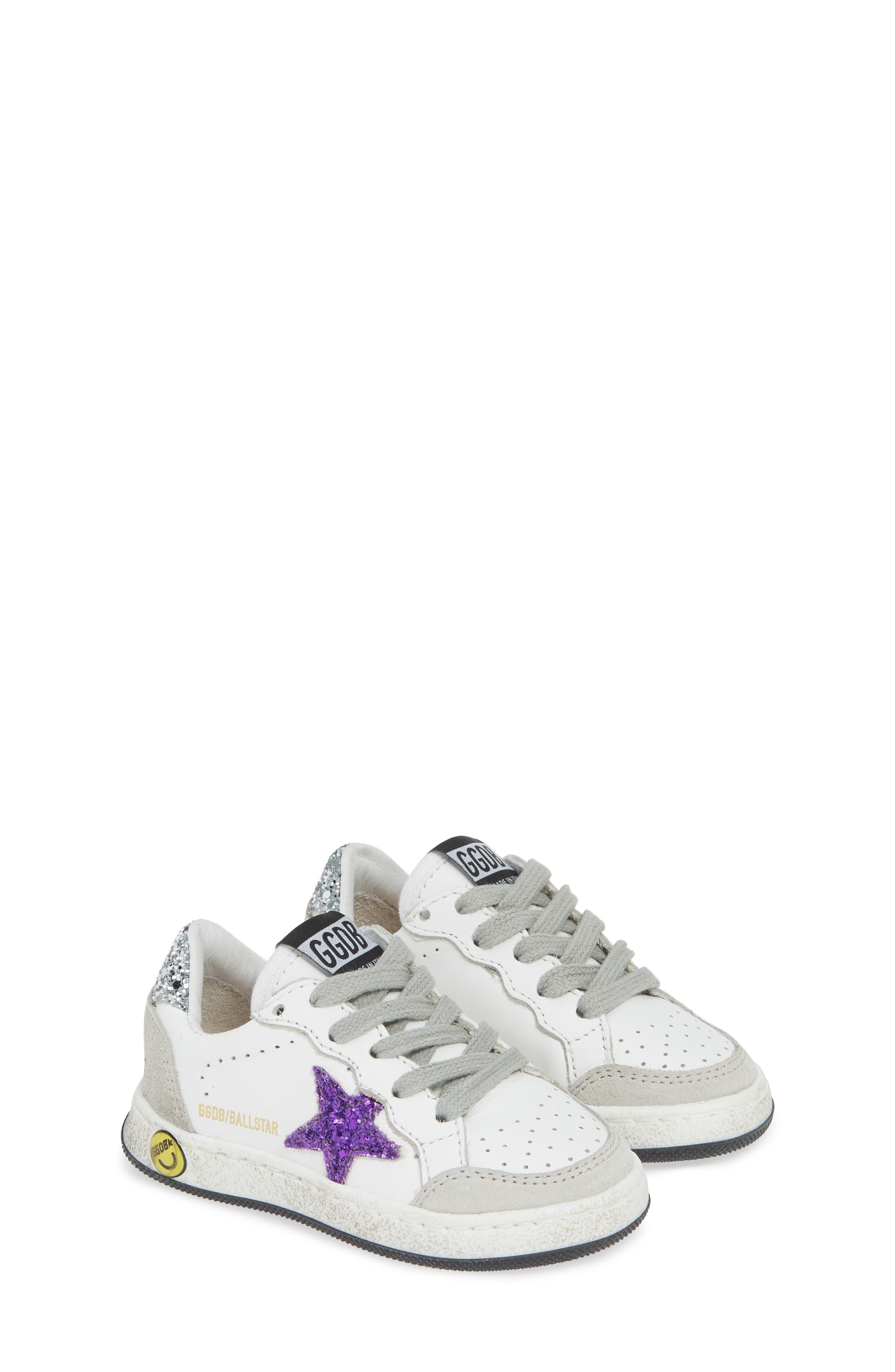 ,                             Ball Star Glitter Sneaker,                             Alternate thumbnail 2, color,                             WHITE LEATHER/ PURPLE GLITTER