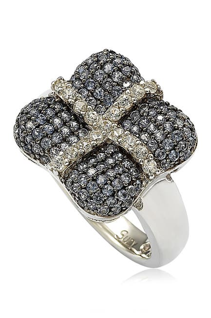 Image of Suzy Levian Sterling Silver Blue & White Sapphire & Diamond Accent Wrapped Cushion Ring - 0.02 ctw