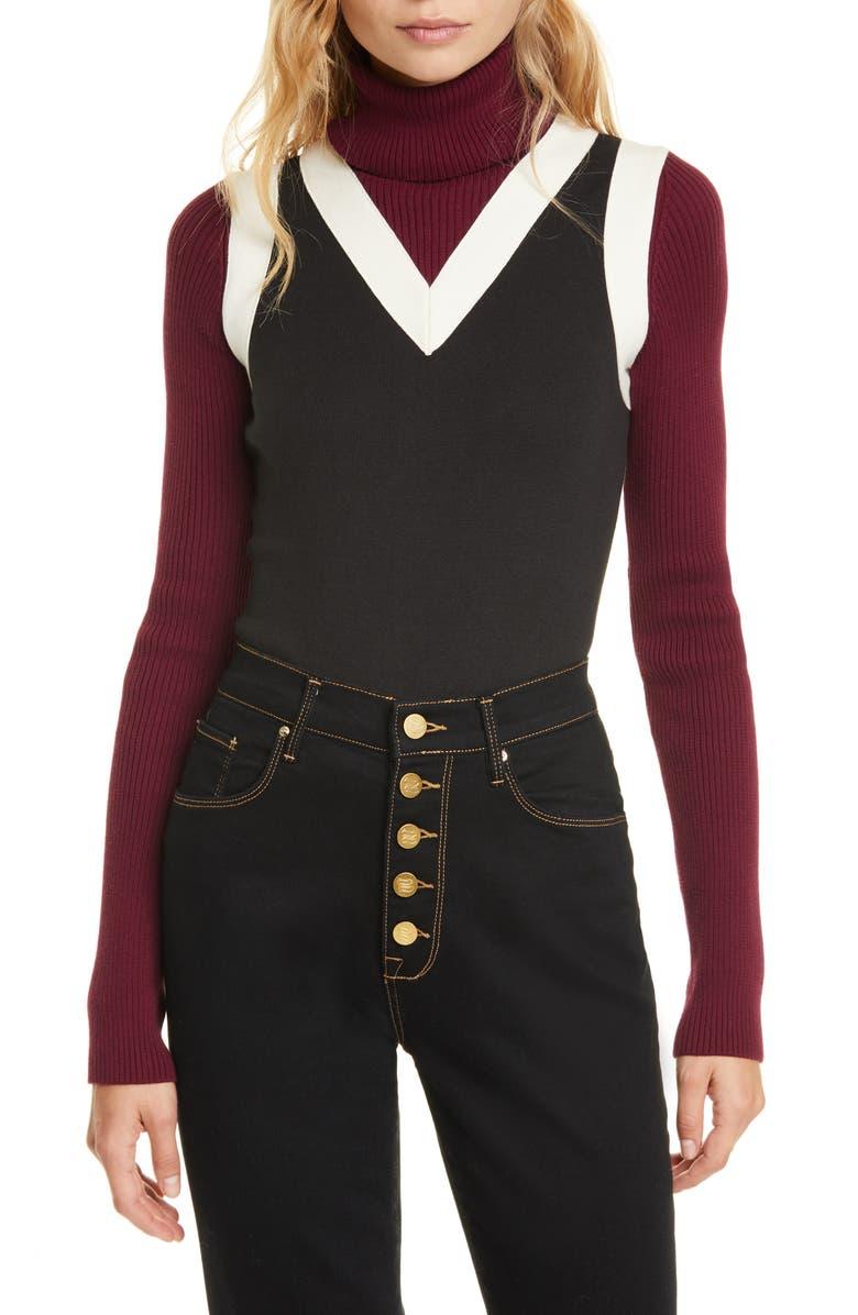 TOMMY HILFIGER Tommy x Zendaya Layered Turtleneck Sweater, Main, color, METEORITE