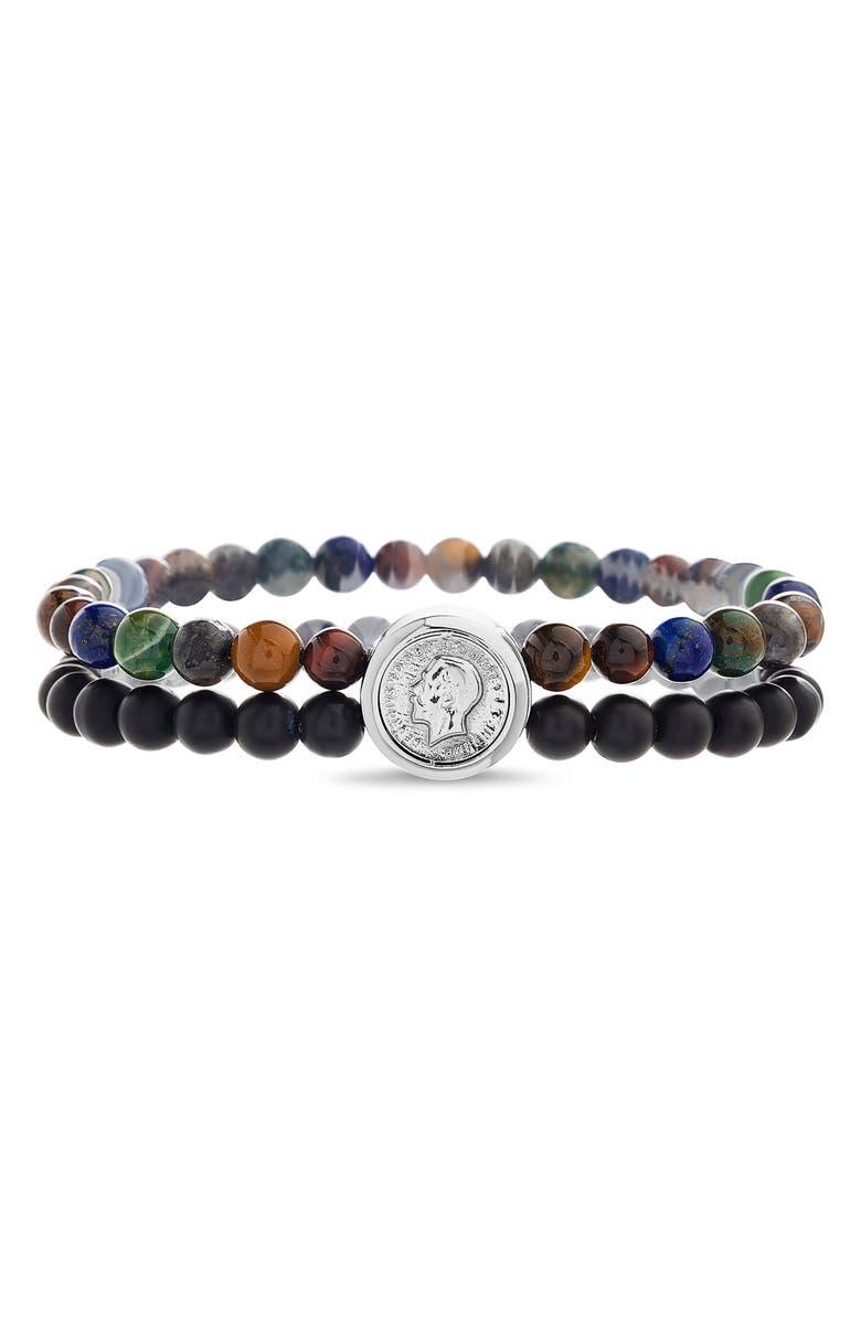 STEVE MADDEN Beaded Coin Bracelet, Main, color, 001