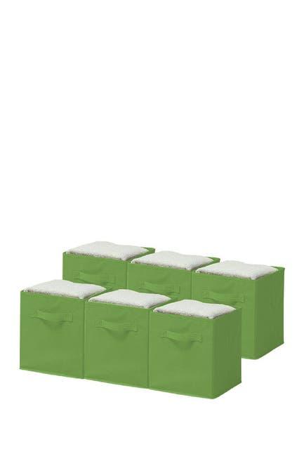 Image of Sorbus Green Foldable Storage Cube Basket Bin - Pack of 6