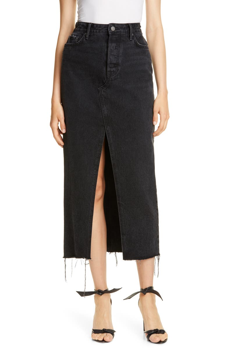 GRLFRND Isla Denim Midi Skirt, Main, color, 001