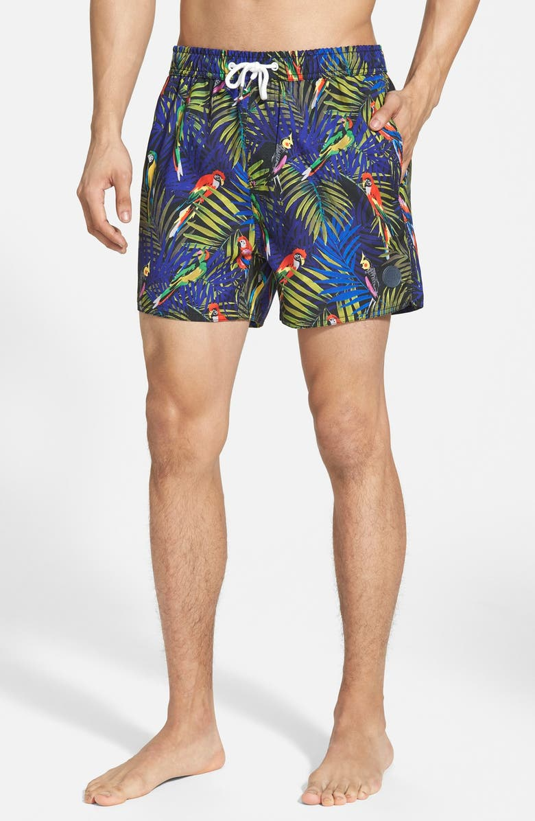 NATIVE YOUTH Bird Print Swim Trunks, Main, color, 410