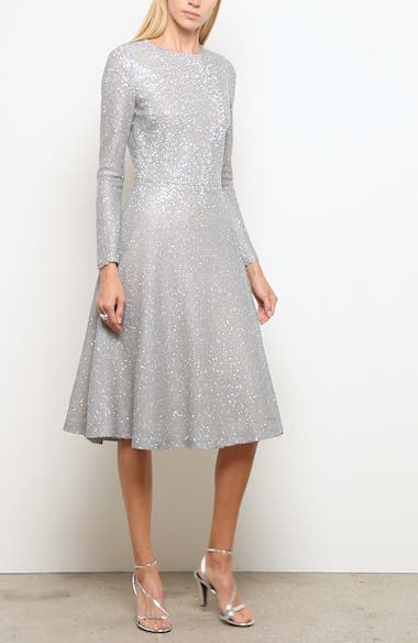 Embellished Netting Knit Fit & Flare Dress, video thumbnail