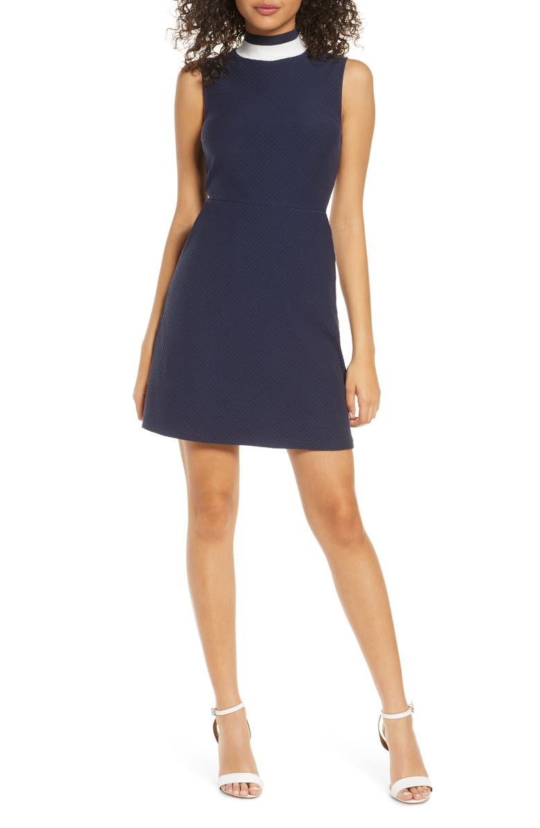FRENCH CONNECTION Savos Sudan Textured Mock Neck Dress, Main, color, 400