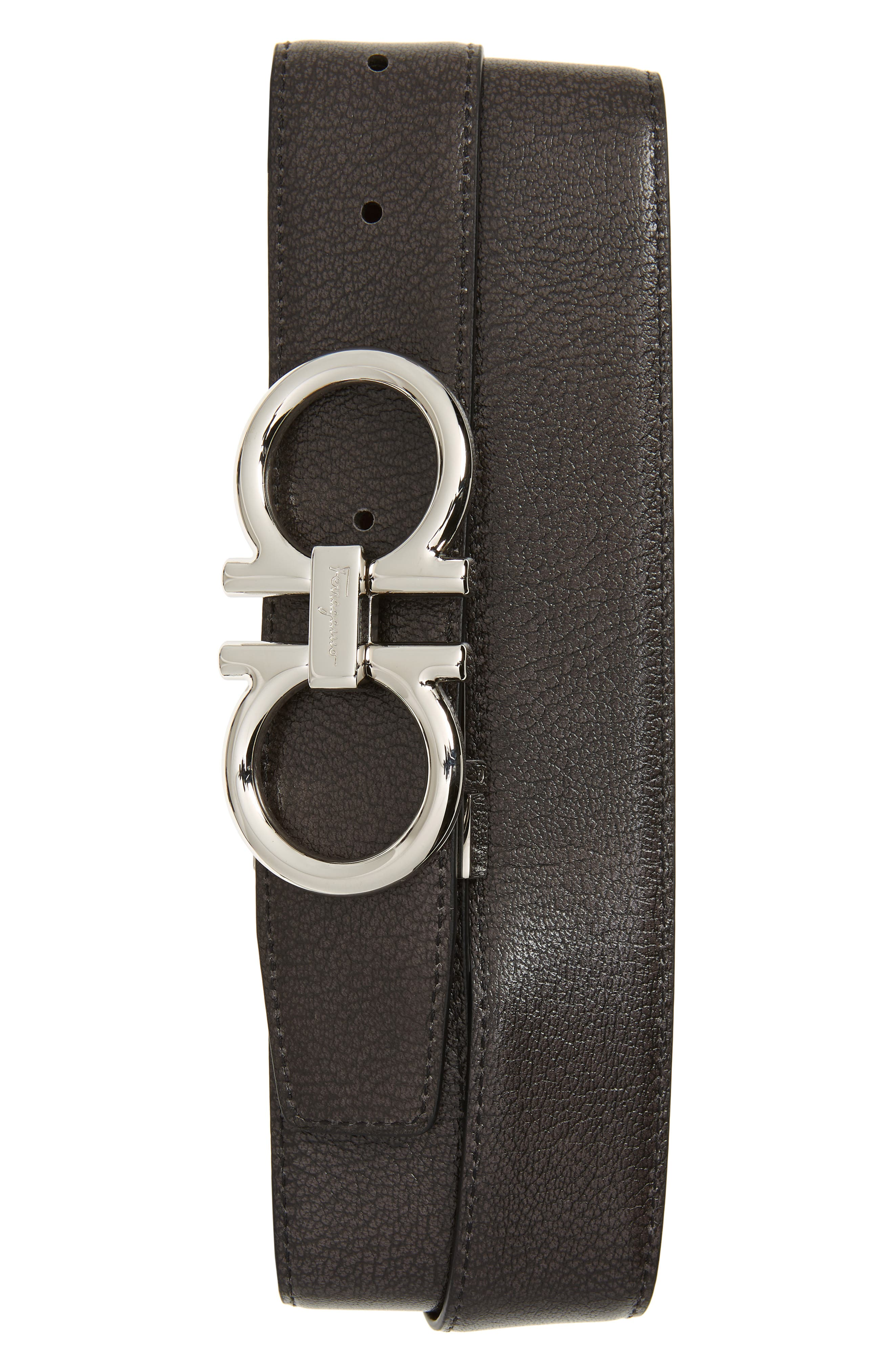 Salvatore Ferragamo Belt Double Gancio Reversible Calfskin Leather Belt