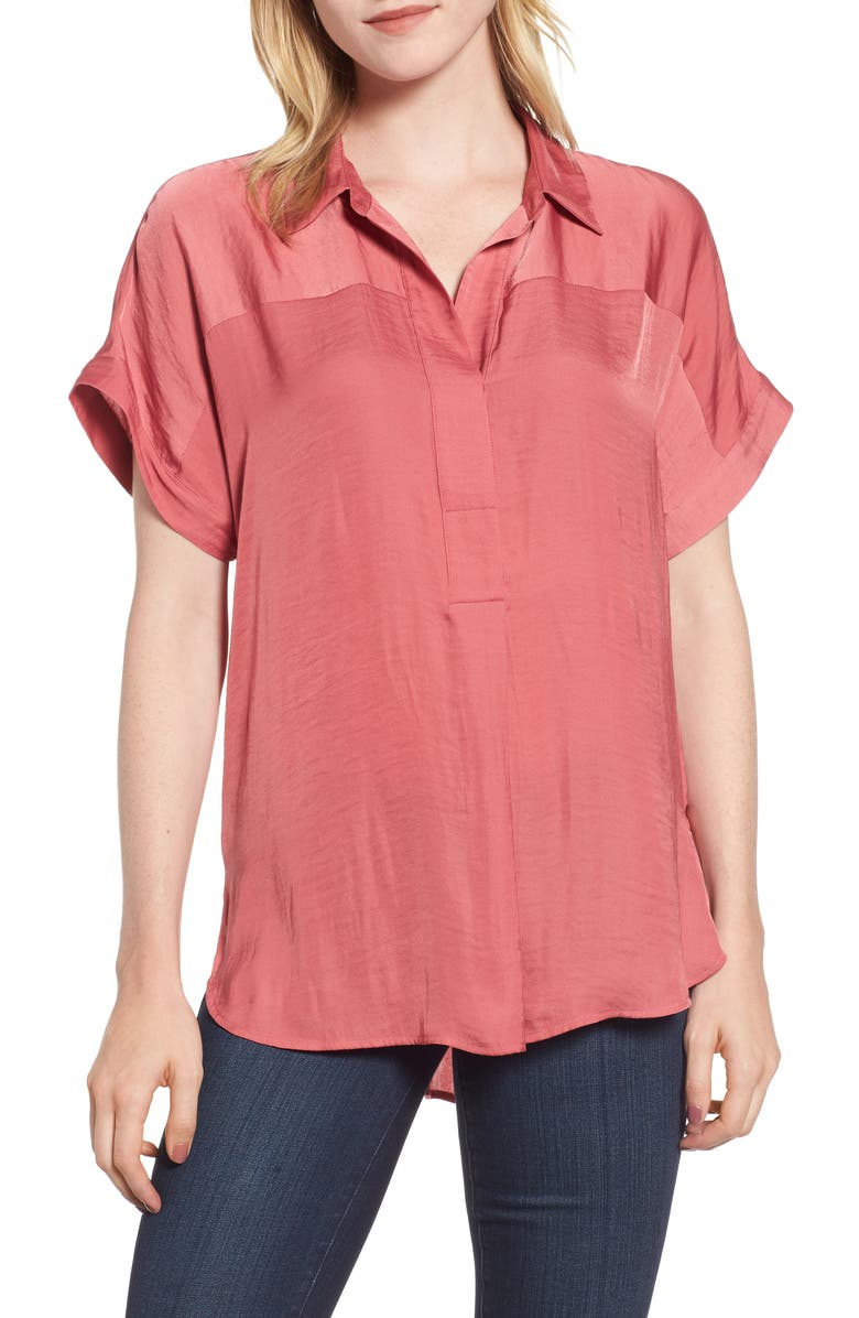 VINCE CAMUTO Hammered Satin Blouse, Main, color, ROUGE BLUSH