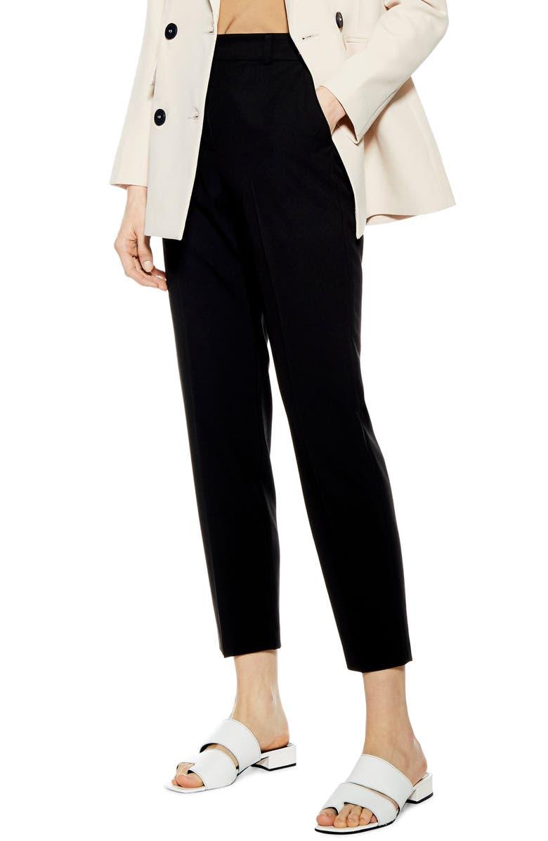 TOPSHOP Billie Piper Cigarette Trousers, Main, color, BLACK