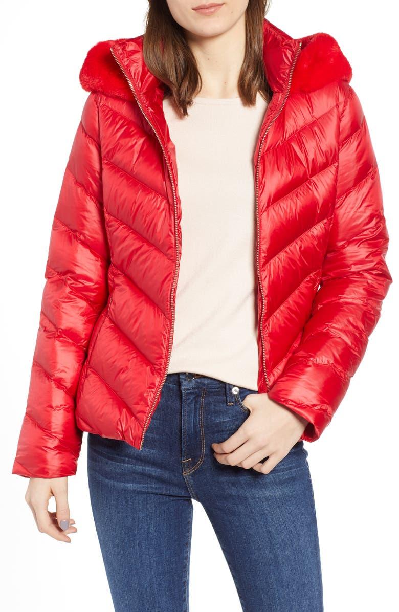 988151ec20ce Ted Baker London Chevron Faux Fur Trim Down Puffer Jacket | Nordstrom