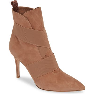 Gianvito Rossi Pointy Toe Bootie, Beige