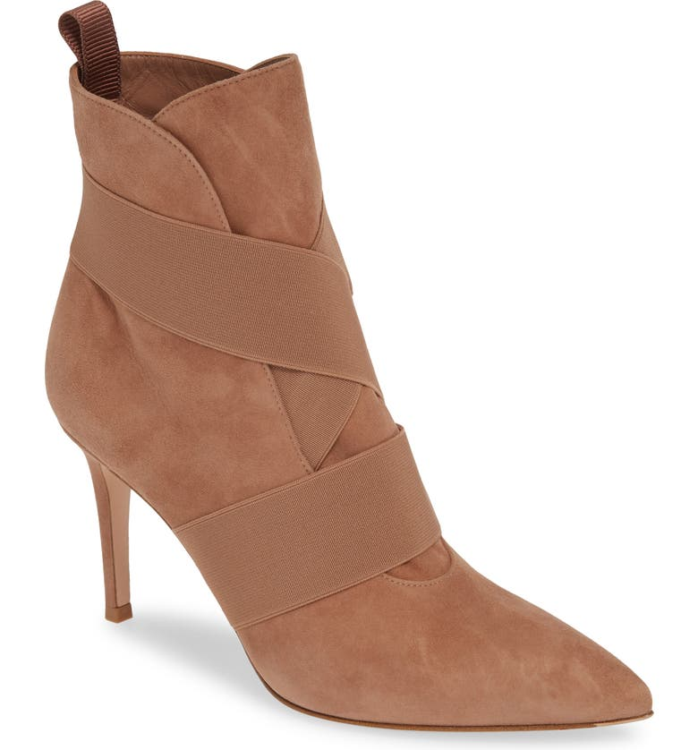 GIANVITO ROSSI Pointy Toe Bootie, Main, color, PRALINE SUEDE