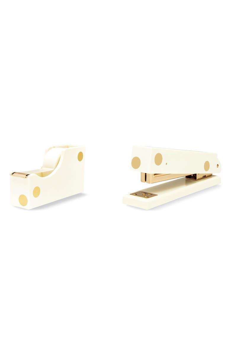 KATE SPADE NEW YORK gold dot stapler & tape dispenser, Main, color, WHITE