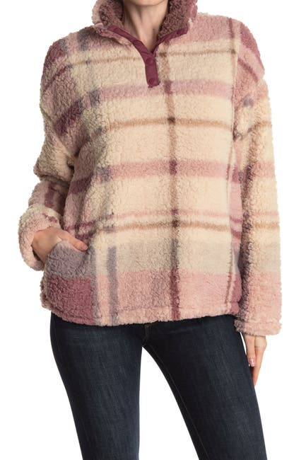 Image of THREAD AND SUPPLY Plaid Faux Shearling Pullover