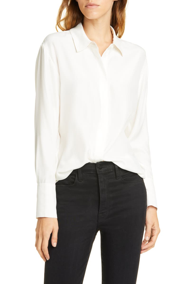 FRAME Perfect Silk Shirt, Main, color, OFF WHITE