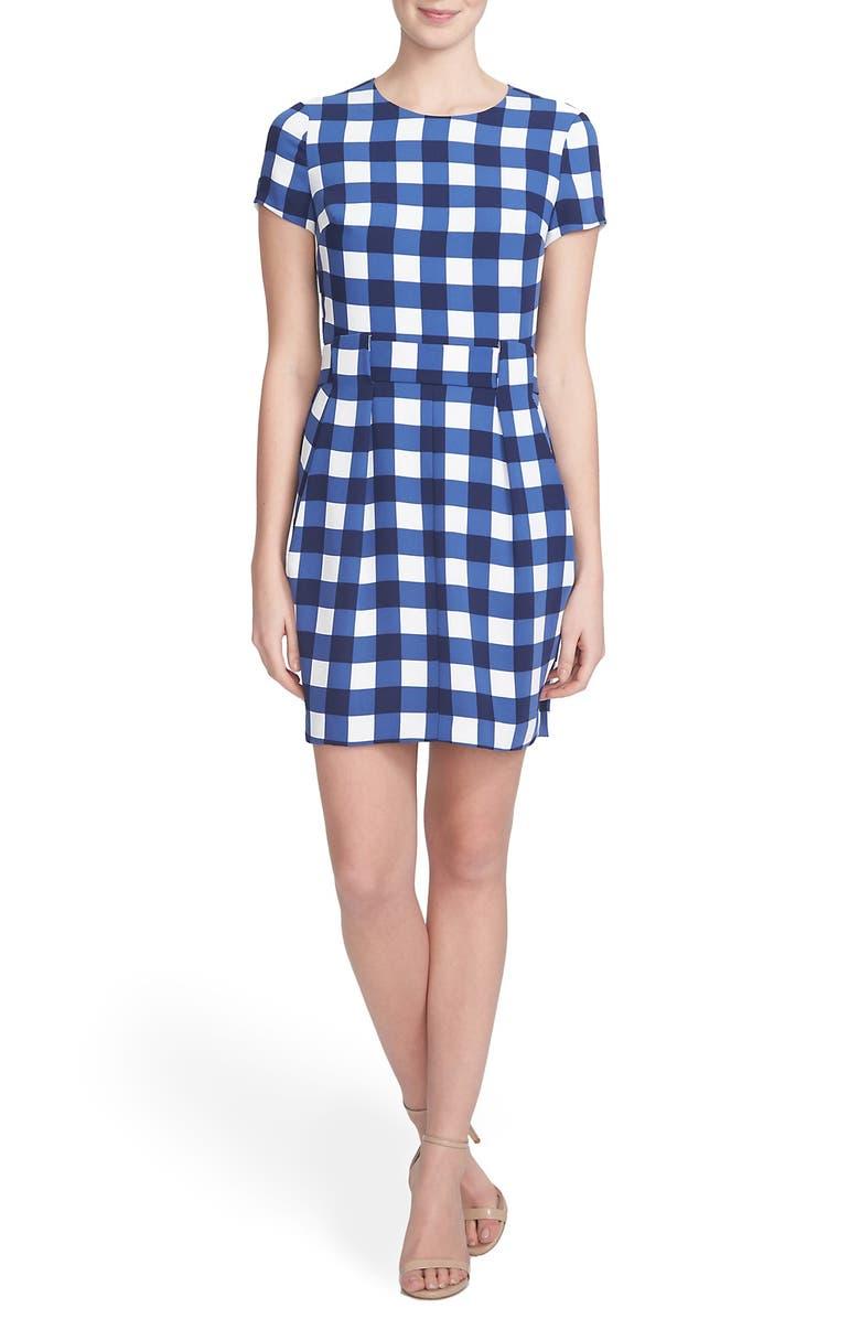 CYNTHIA STEFFE 'Lana' Gingham Crepe Sheath Dress, Main, color, 429