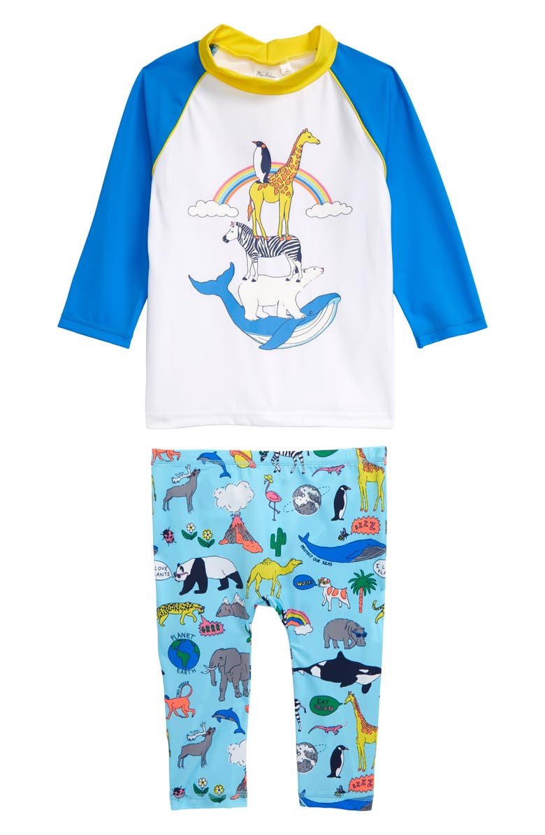 MINI BODEN Animal Kingdom Two-Piece Long Sleeve Rashguard Swimsuit, Main, color, LIGHT BLUE