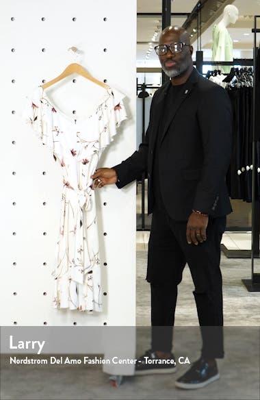 Floral Print Ruffle Faux Wrap Midi Dress, sales video thumbnail