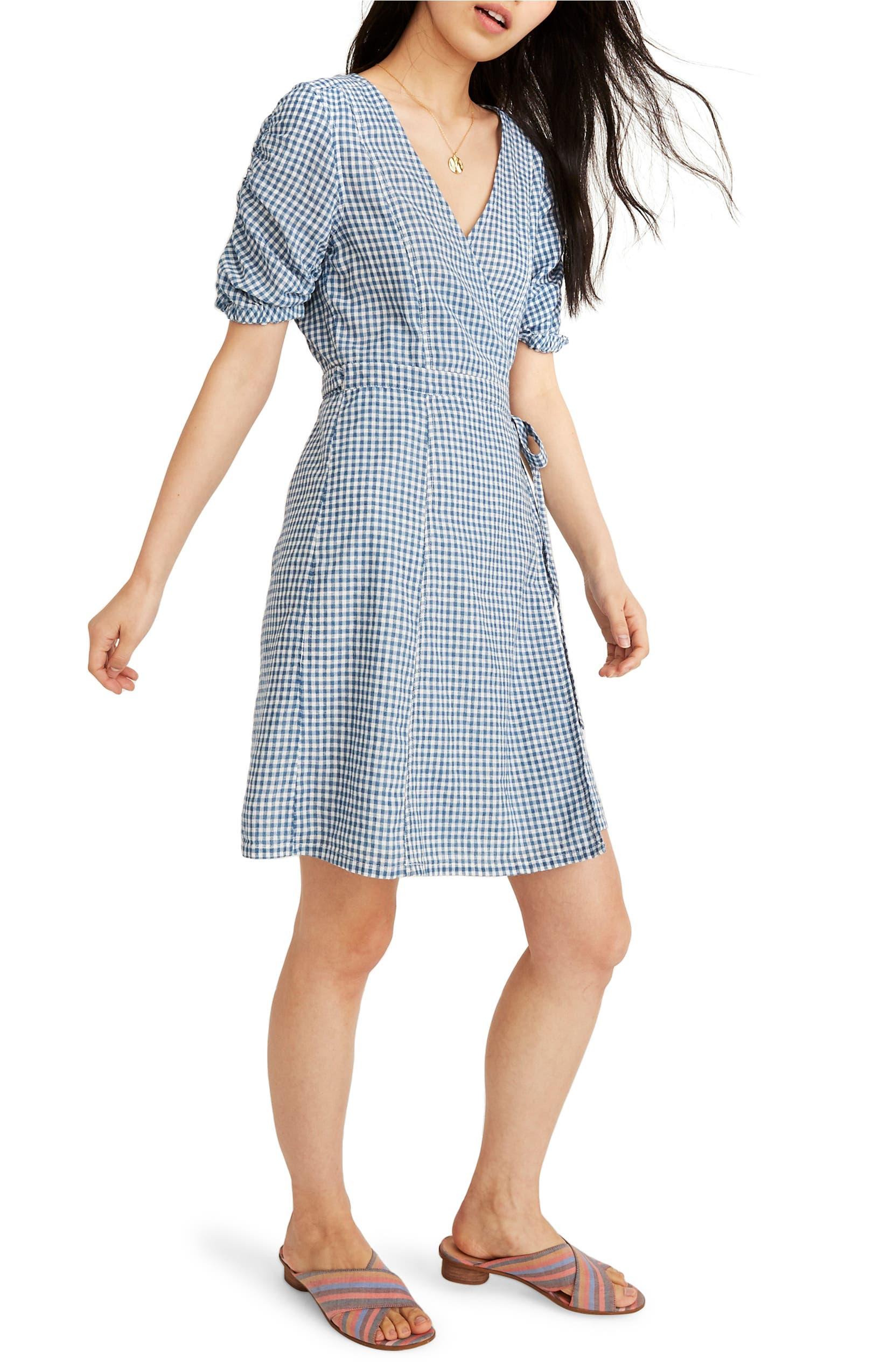 f1ab46560917f Gingham Shirred Sleeve Wrap Dress