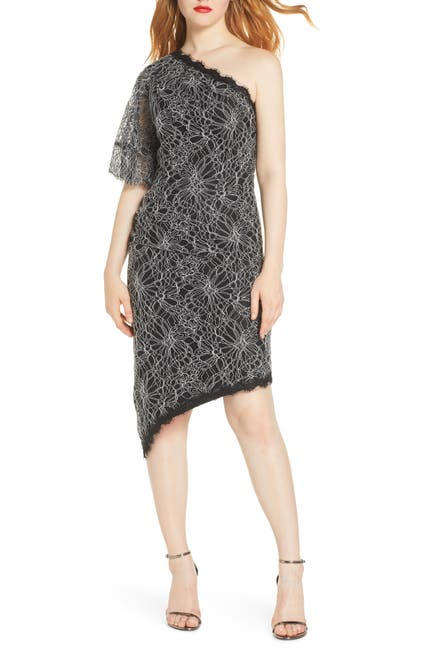 Image of Harlyn One Shoulder Lace High/Low Cocktail Dress