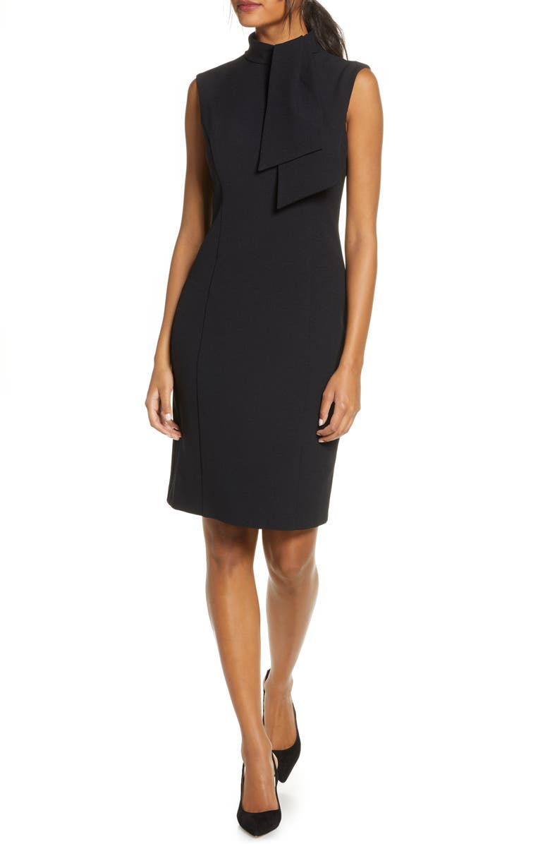HARPER ROSE Tie Neck Sheath Dress, Main, color, BLACK
