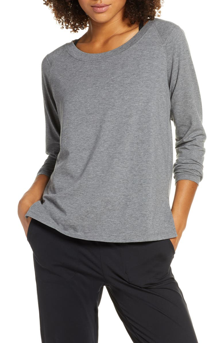 ZELLA Karly Long Sleeve Tee, Main, color, GREY DARK HEATHER