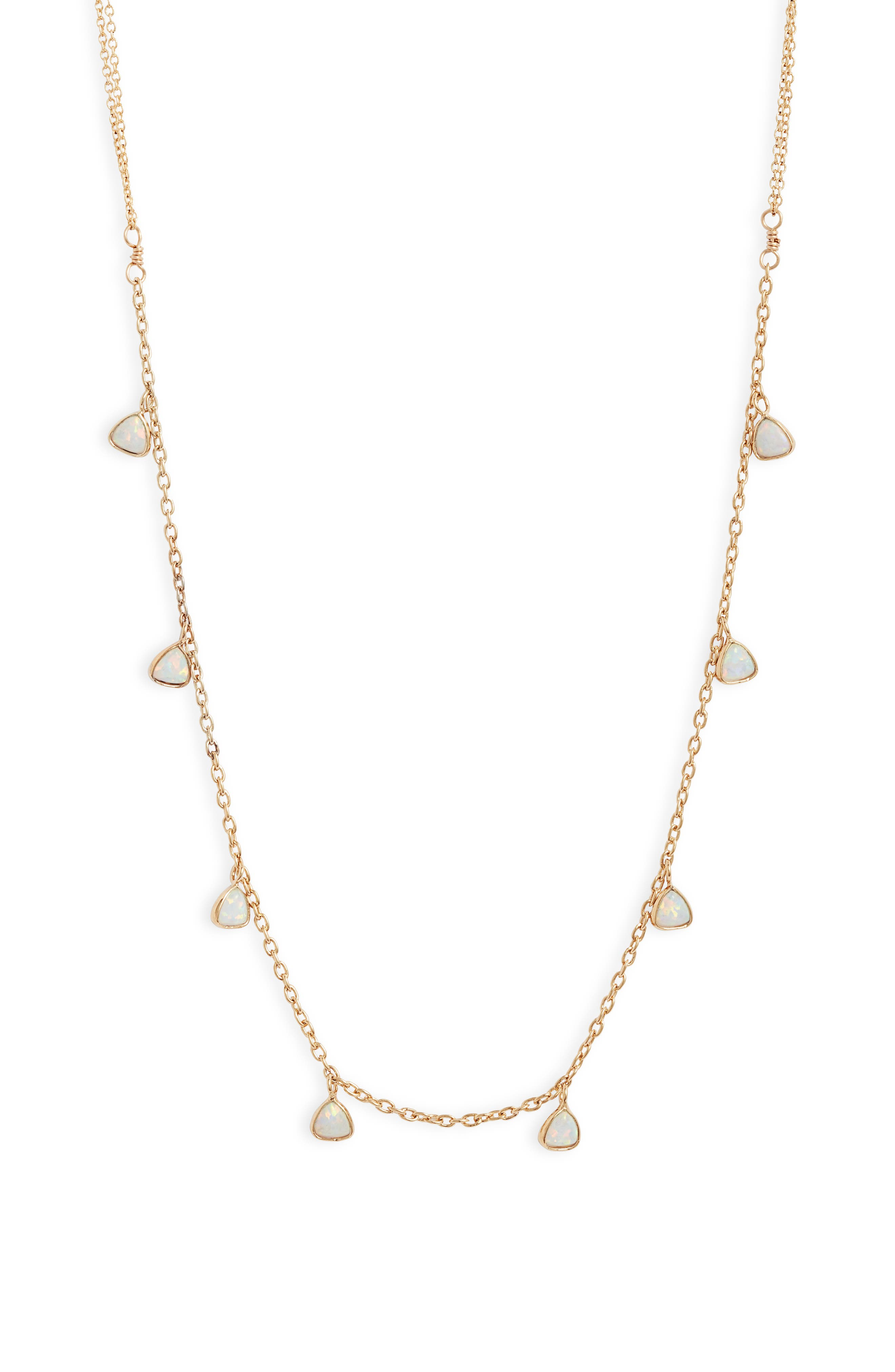 Designed long with a doubled chain, this layer-friendly necklace strikes a boho note with lab-created opal stations dancing with iridescent shimmer. Style Name: Set & Stones Greycie Shaker Station Necklace. Style Number: 5966498. Available in stores.