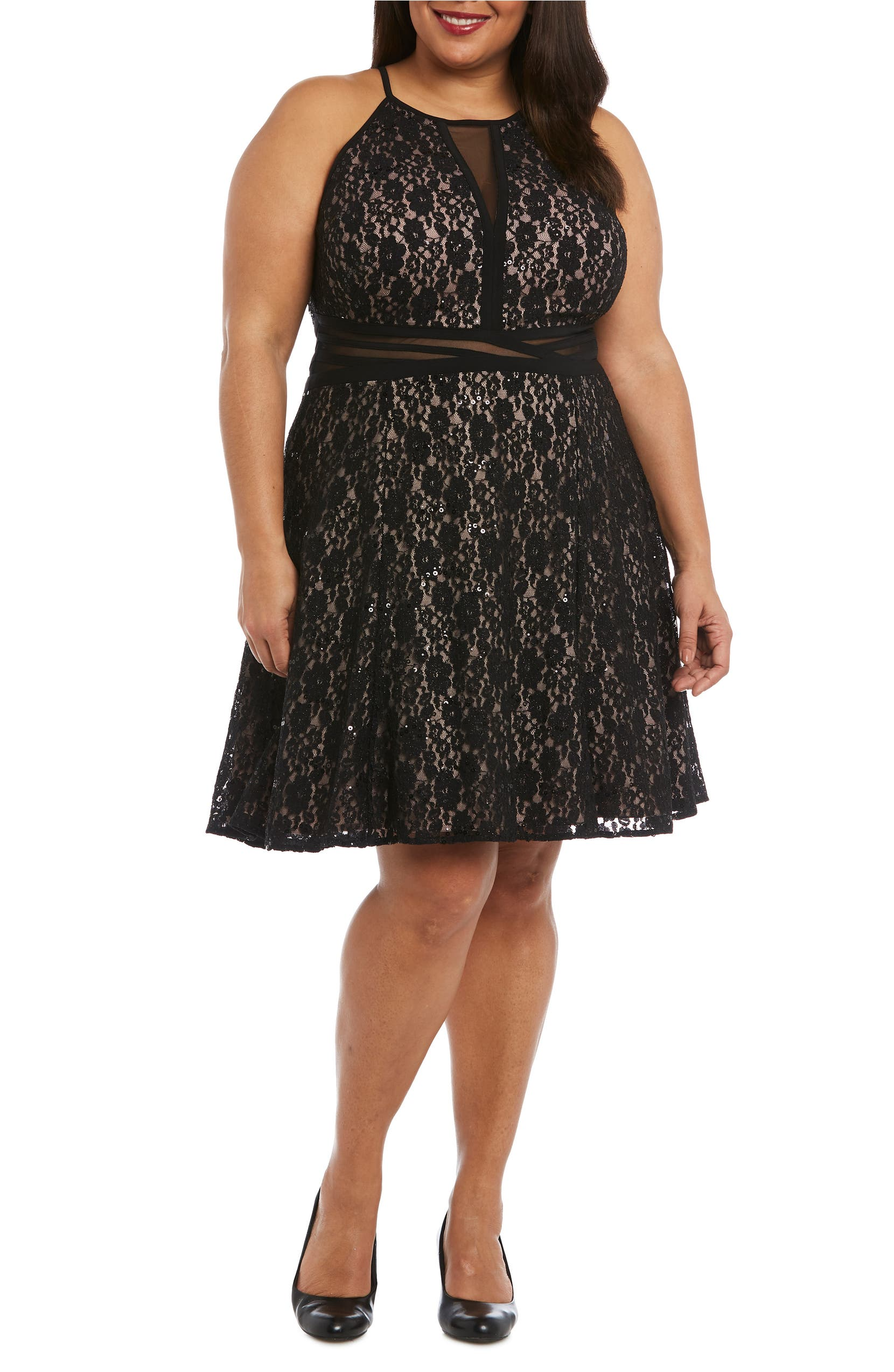 Sheer Inset Lace Fit & Flare Dress
