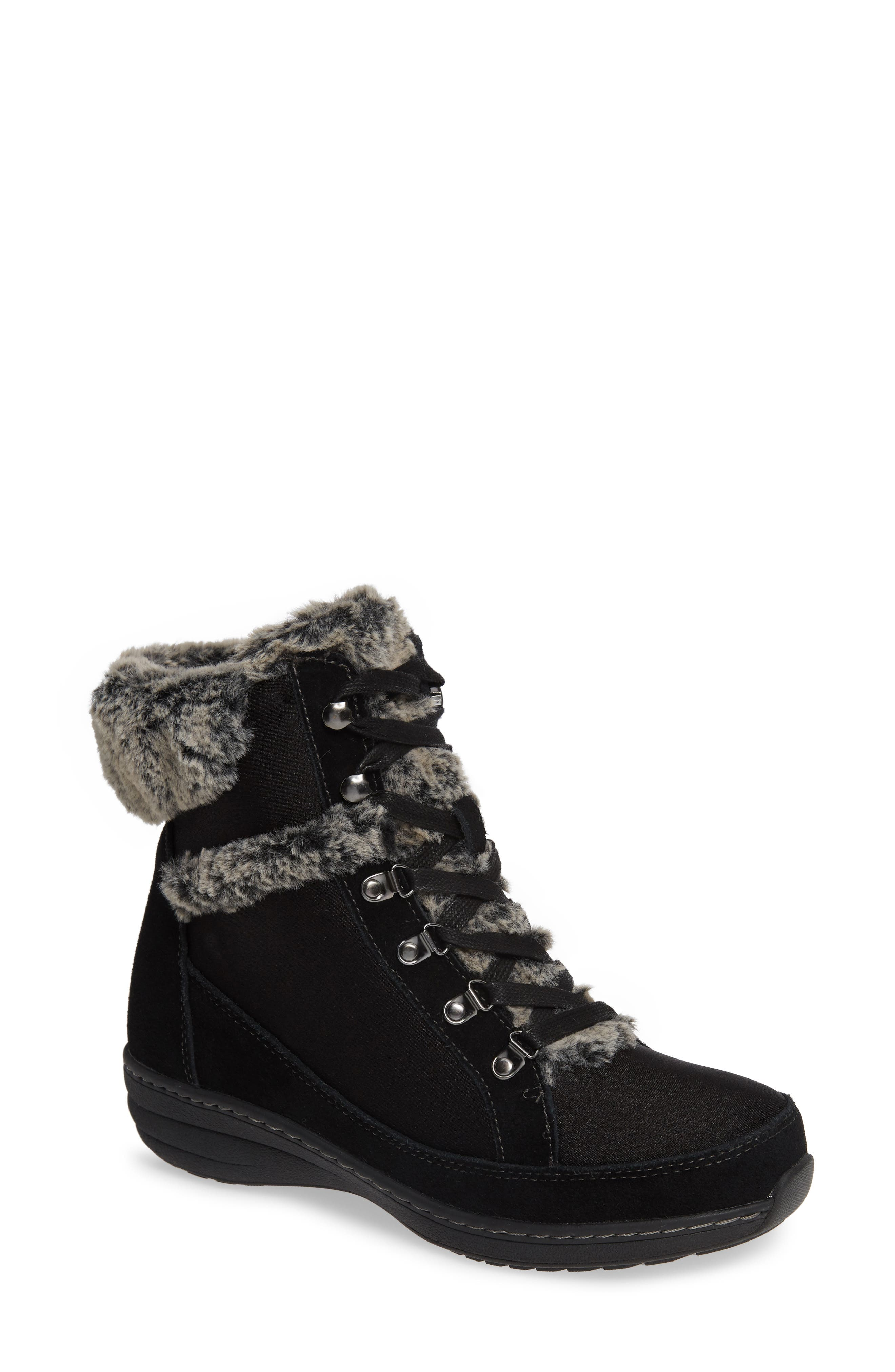 Aetrex Fiona Faux Fur Lined Boot - Black