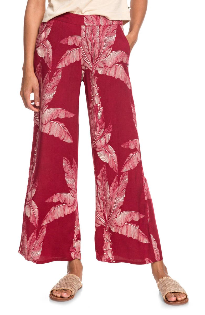 ROXY Midnight Avenue Floral Print Pants, Main, color, RHUBARB BANANA TREE