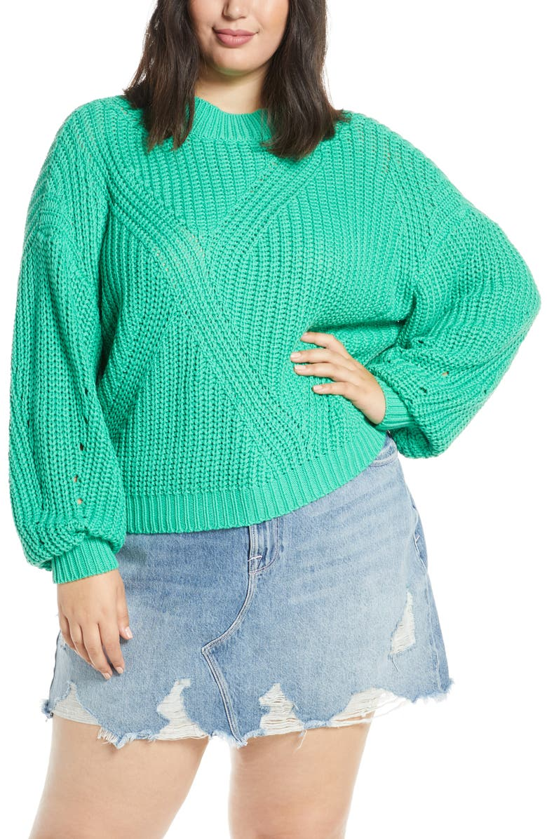 BP. Traveling Stitch Sweater, Main, color, GREEN MING
