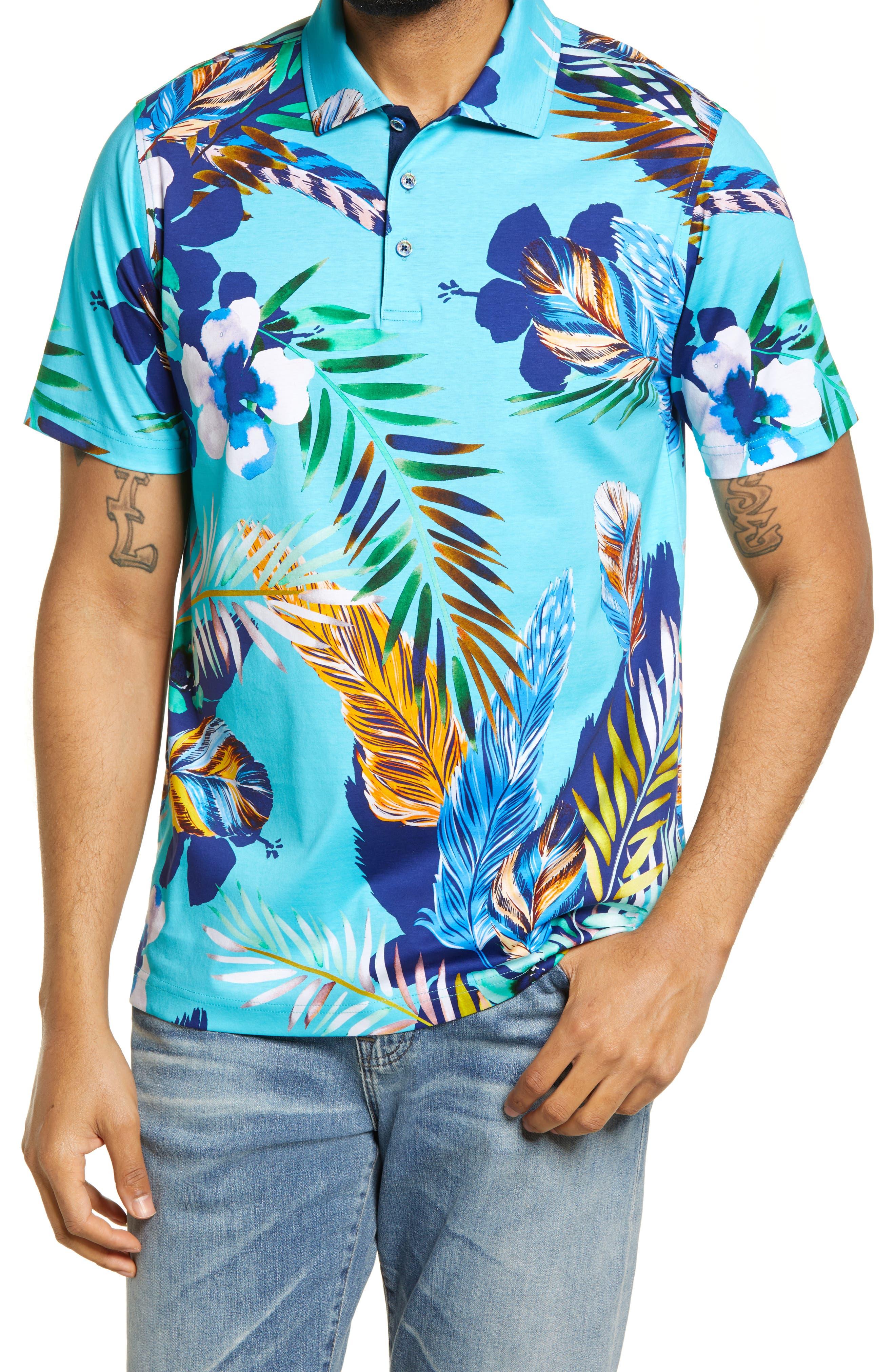 Tropical Print Short Sleeve Polo