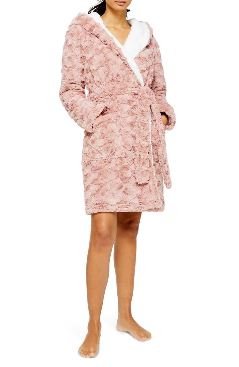 TOPSHOP Hooded Fleece Short Robe, Main, color, BLUSH