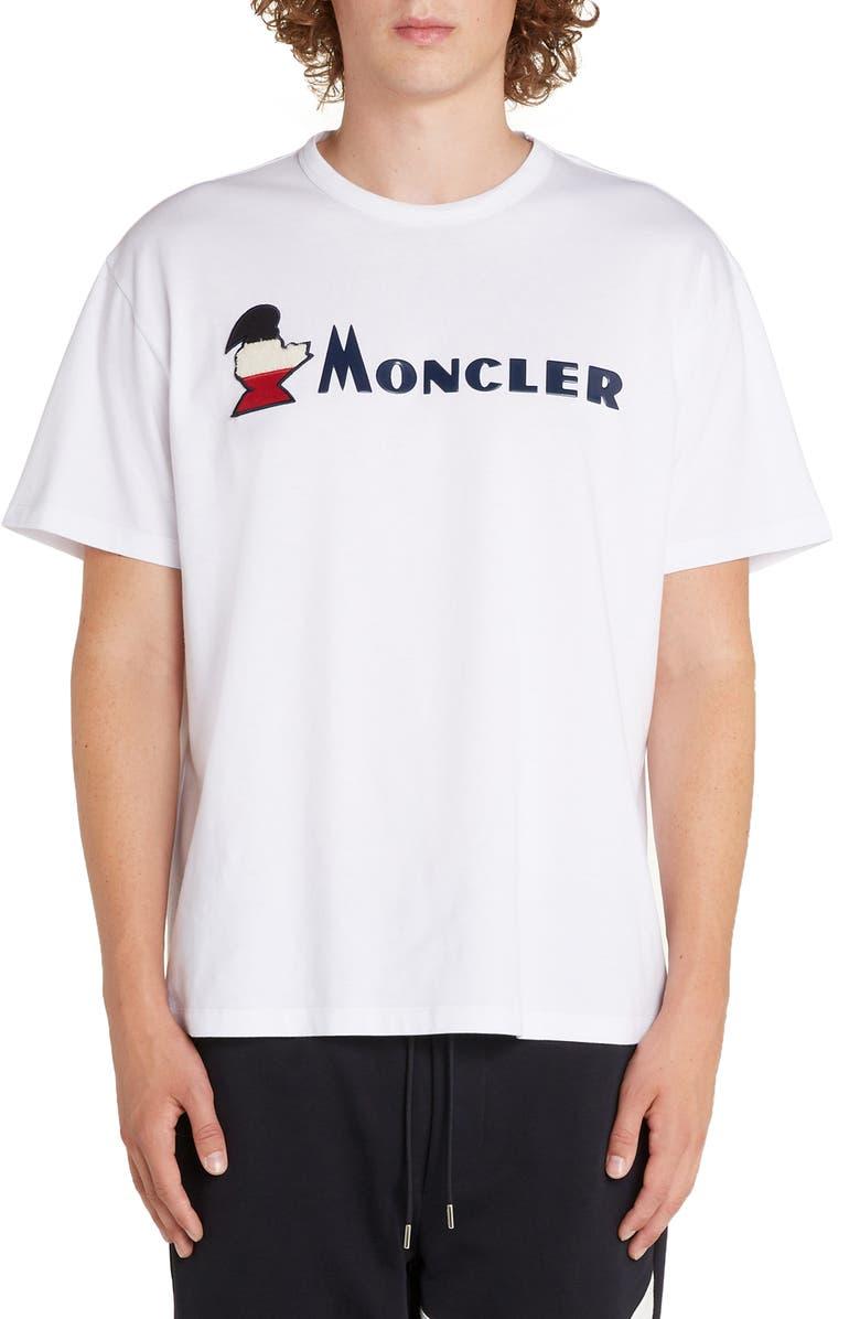 MONCLER Logo Crewneck T-Shirt, Main, color, WHITE