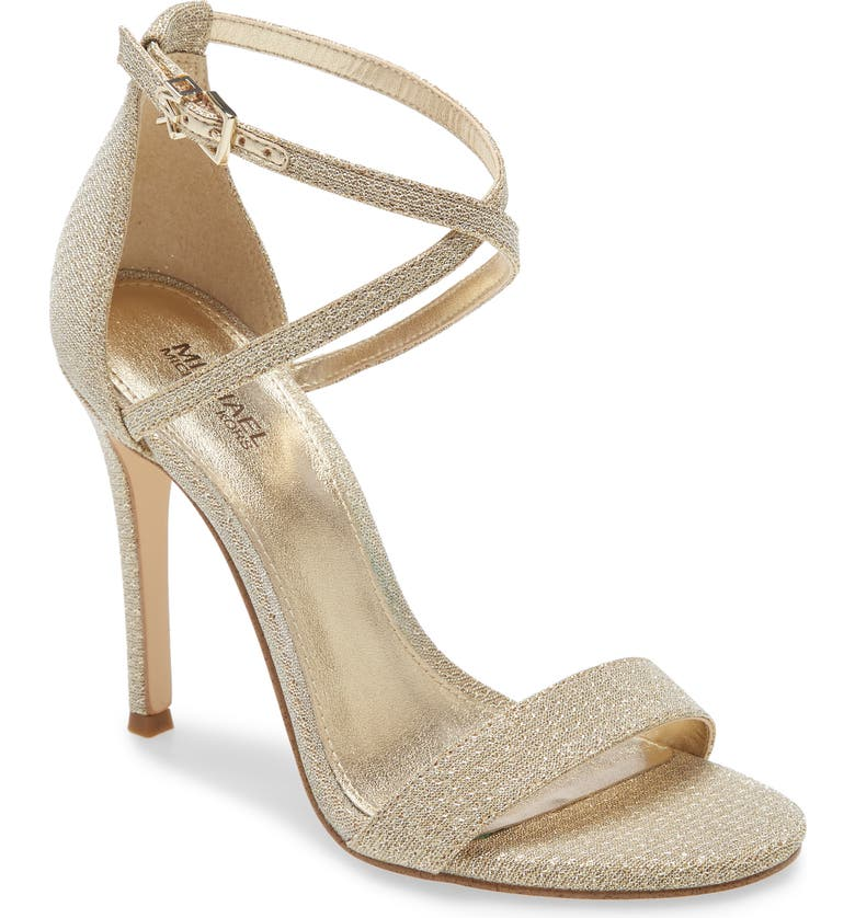 MICHAEL MICHAEL KORS Antonia Sandal, Main, color, PALE GOLD LEATHER
