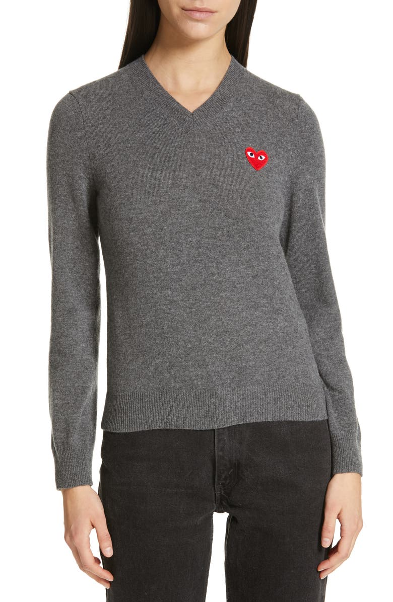 COMME DES GARÇONS PLAY Heart Wool Pullover, Main, color, GREY