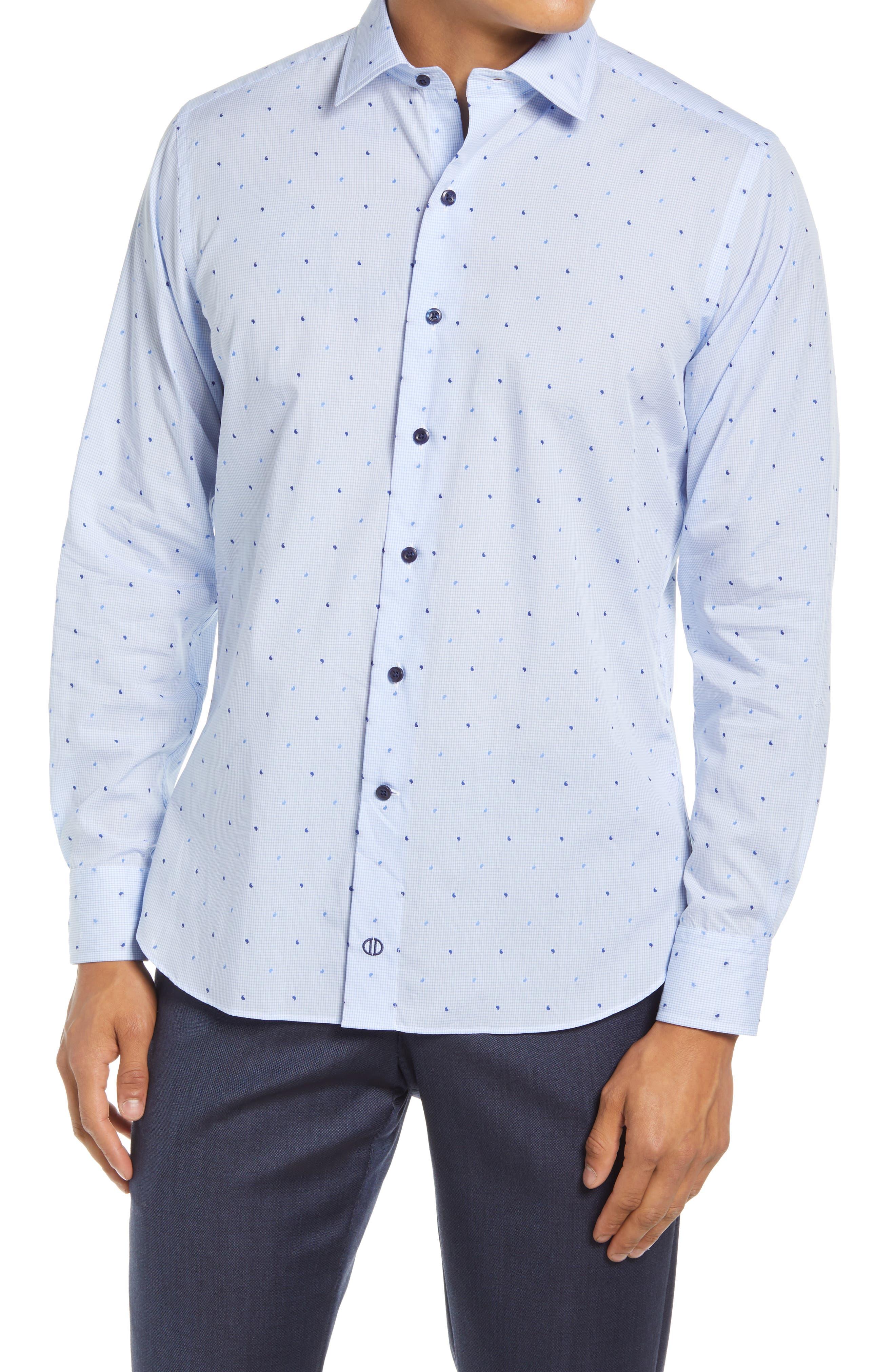 Trim Fit Plaid Embroidered Dress Shirt