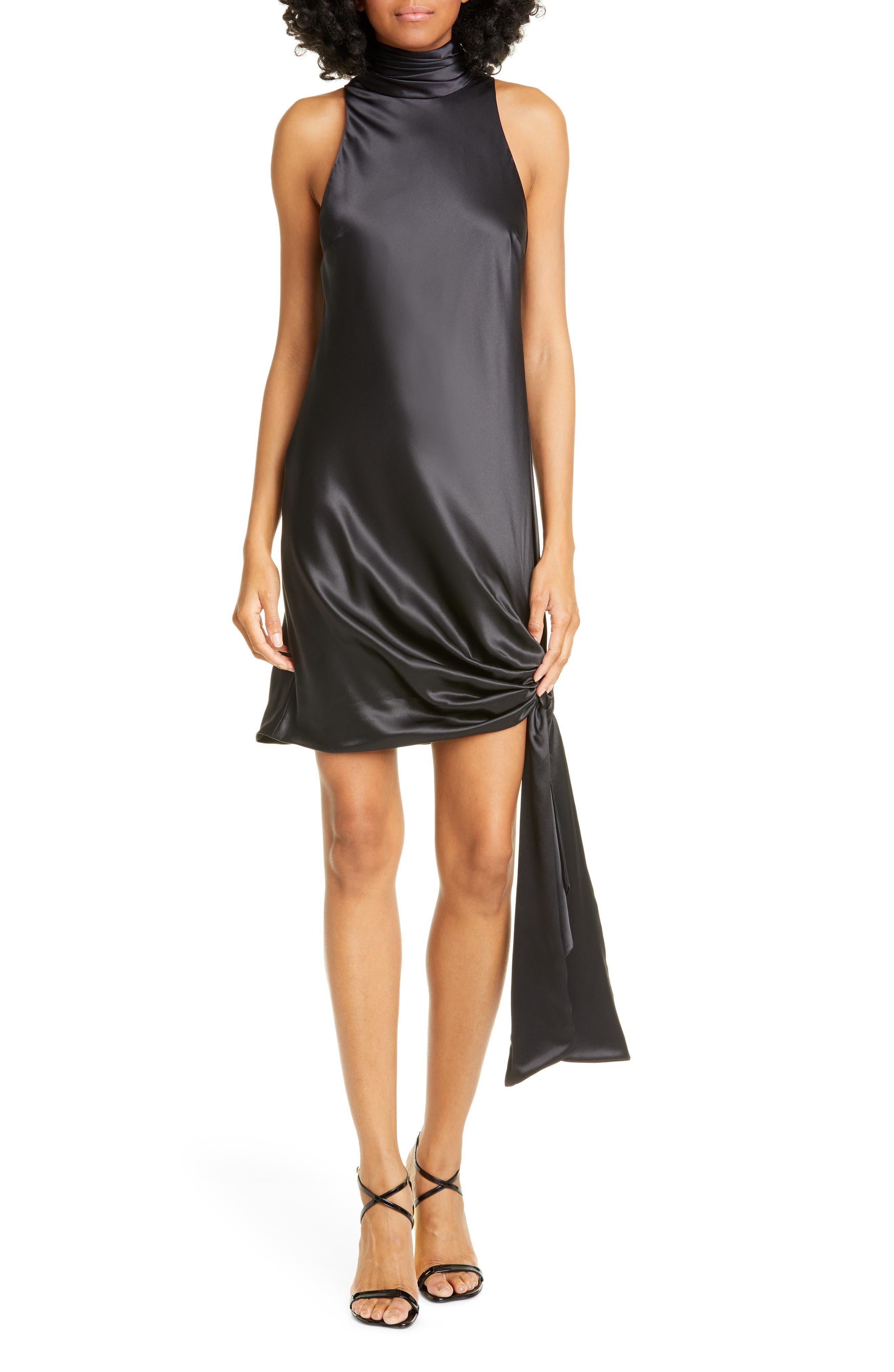 Cinq A Sept Denise Scarf Hem Silk Minidress, Black