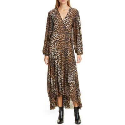 Ganni Leopard Print Mesh Long Sleeve Midi Dress, US / 4 - Brown