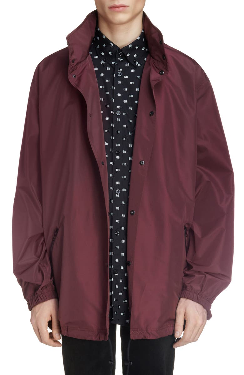 BALENCIAGA Hooded Longline Windbreaker, Main, color, BURGUNDY