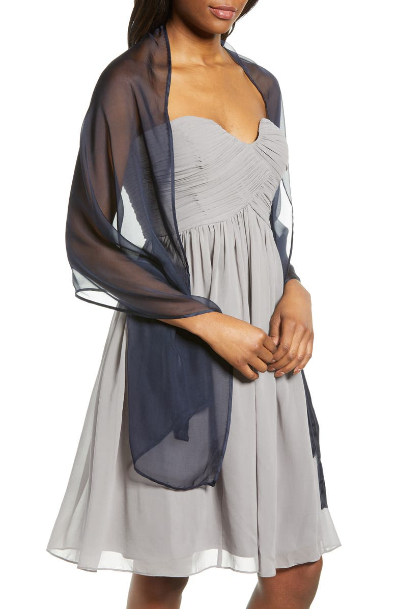 NORDSTROM Silk Chiffon Wrap, Main, color, NAVY EVENING