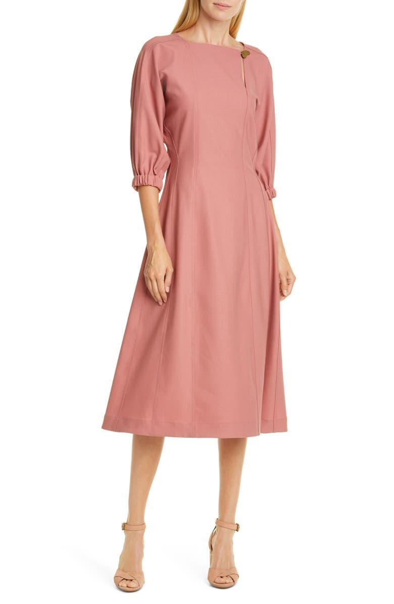 SEA Hayes Blouson Sleeve Midi Dress, Main, color, ROSE