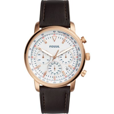 Fossil Goodwin Chronograph Leather Strap Watch, 4m