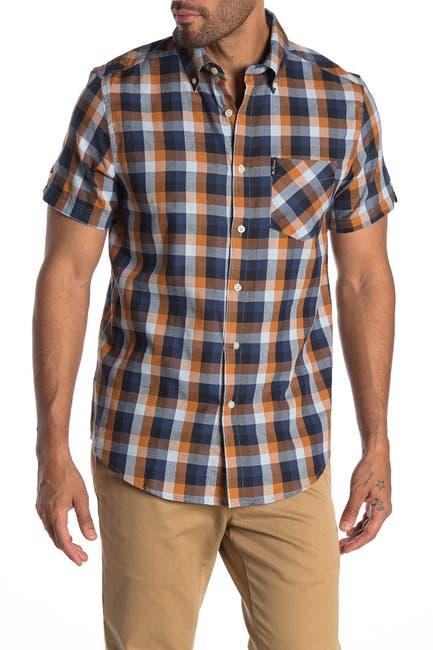 Image of Ben Sherman Plaid Short Sleeve Union Fit Shirt