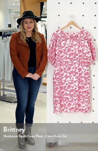Floral Print Puff Sleeve Cotton Shift Dress, sales video thumbnail