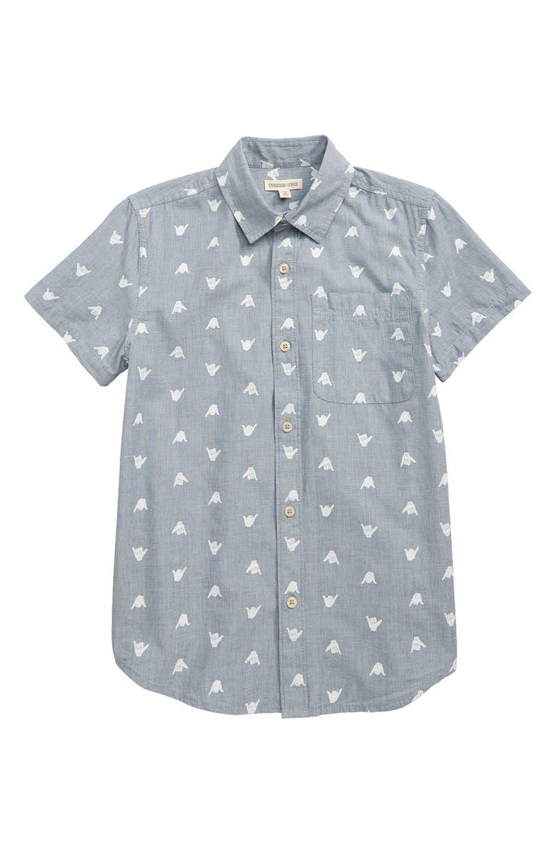 TUCKER + TATE Summertime Badness Woven Shirt, Main, color, BLUE CHAMBRAY SHAKA HANDS